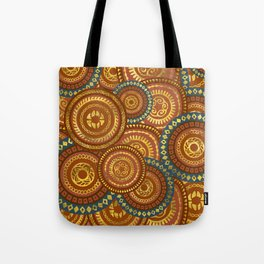 Circular Ethnic  pattern pastel gold and brown, teal Tote Bag