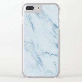 Teal Swirl Marble Clear iPhone Case