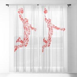 Basketball RED Sheer Curtain