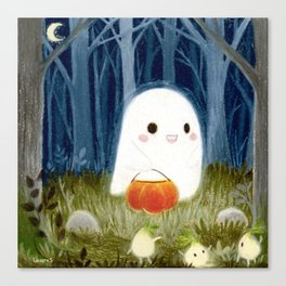 Little ghost and pumpkin Canvas Print