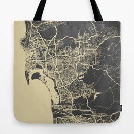 San Diego Map yellow Tote Bag