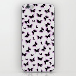 Black and pink butterflies iPhone Skin