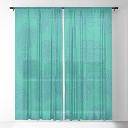 UrbanNesian Teal Monstera Leaf Sheer Curtain