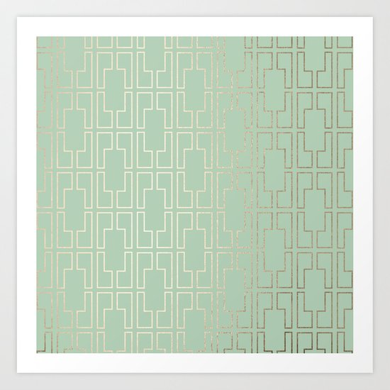 Simply Mid-Century in White Gold Sands and Pastel Cactus Green Art Print