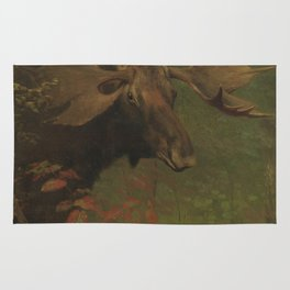 Vintage Painting of a Bull Moose Rug