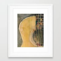 guitar Framed Art Prints featuring Guitar  by Dorrie Rifkin Watercolors