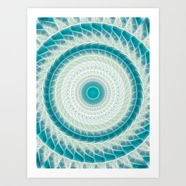 Cyan Glow Kaleidoscope 15 Art Print