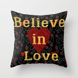 Golden typography believe in love on red grey and black background pattern Throw Pillow