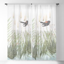 Red Winged Black Bird & Botanicals Sheer Curtain