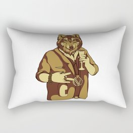 Sophisticated Wolf - having a drink Rectangular Pillow