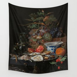 Still life with fruits, oysters and a porcelain bowl, Abraham Mignon (1660 - 1679) Wall Tapestry