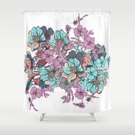 Hand drawn flowers. Vintage romantic design Shower Curtain