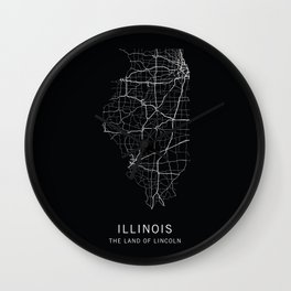 Illinois State Road Map Wall Clock