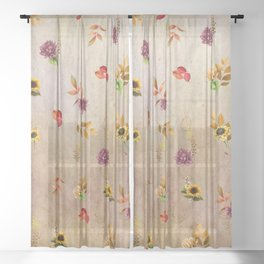 Fall Flower Festval Sheer Curtain