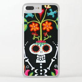 Happy Skelly with Tree Clear iPhone Case