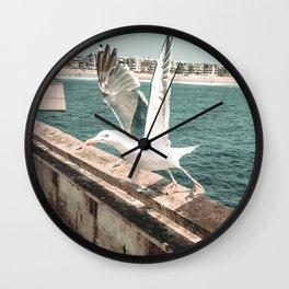 Seagull Taking Flight // California West Coast Pier Vibes Beach Ocean Surf City USA Wall Clock