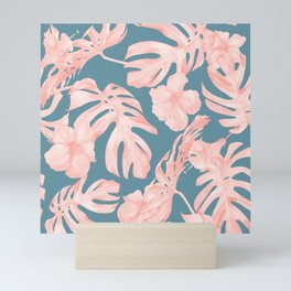 Tropical Palm Leaves and Hibiscus Pink Teal Blue Mini Art Print