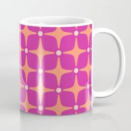 Mid Century Modern Star Pattern 143 Magenta and Orange Coffee Mug