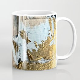 Compelling: a minimal, abstract mixed-media piece in gold, pink, black and white by Alyssa Hamilton Coffee Mug