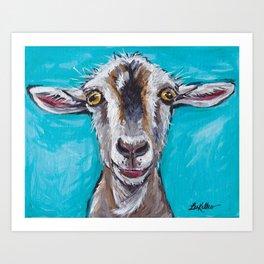 Goat Art, Colorful Farm Animal Art Print