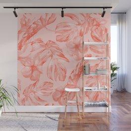 Tropical Dream Palm Leaves Deep Pink Wall Mural