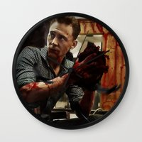 blood Wall Clocks featuring Blood by Sandrine Bandura