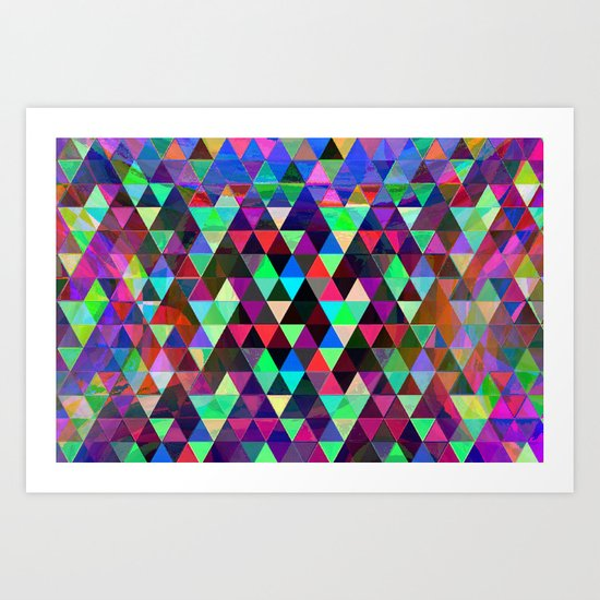 Neon triangles Art Print
