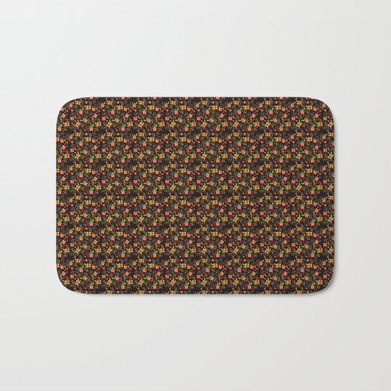 Flower Watercolor Pattern Bath Mat