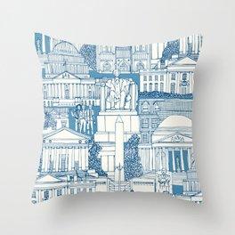Washington DC toile blue Throw Pillow