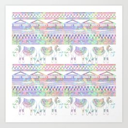 Pastel Elephant Tribal Pattern Art Print