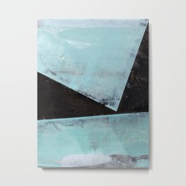Aqua and Black Minimalist Geometric Abstract Metal Print