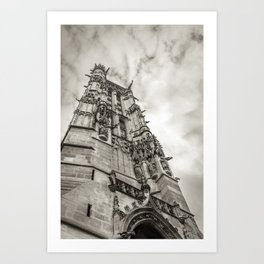 Gothic tower against the sky Art Print