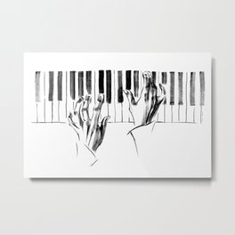 hands of a pianist playing music on the piano Metal Print