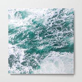 Blue Green  Rapid Ocean Waves Metal Print