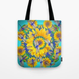 SHABBY CHIC BLUE DRAGONFLIES ON YELLOW SUNFLOWERS ART Tote Bag
