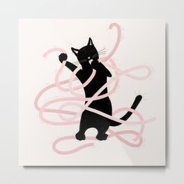Black Cat playing with Giant Spaghetti Metal Print
