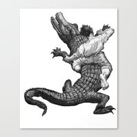 wrestling Canvas Prints featuring Crocodile wrestling! by Noughton