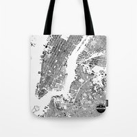 new york map Tote Bags featuring New York Map by Maps Factory