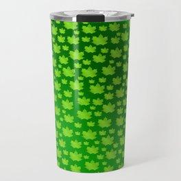 green metal shiny maple leaf on shimmering texture Travel Mug