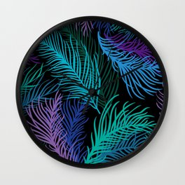 Multicolored palm leaves Wall Clock