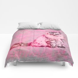 Cute Cat Pink Mixed Media Art Comforters