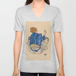 "Egon Schiele ""Seated Woman, Back View"" Unisex V-Neck"