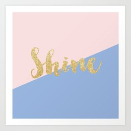 Pantone Rose Quartz and Serenity with Gold Glitter Shine Art Print