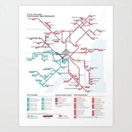 DC Commuter Bus Network Map Art Print