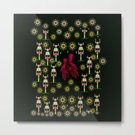 floral  candle light skulls and mother earth in soft hands Metal Print
