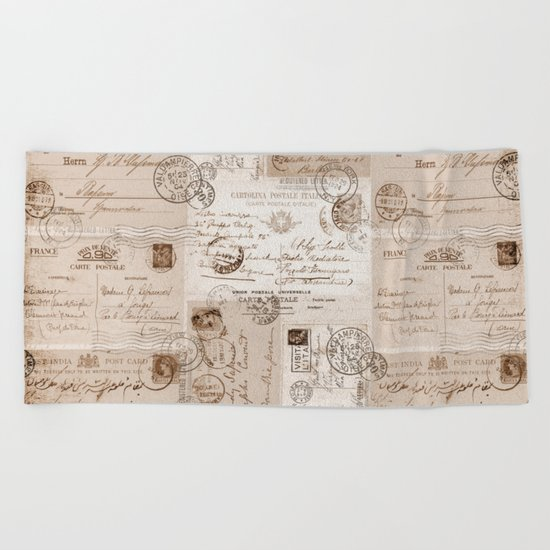 Old Letters vintage collage Beach Towel