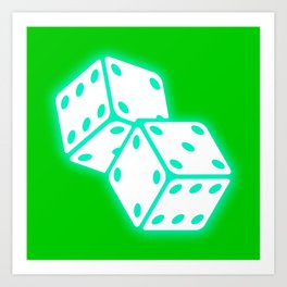 Two game dices neon light design Art Print