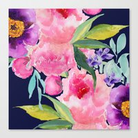 craftberrybush Canvas Prints featuring Floral blue by craftberrybush