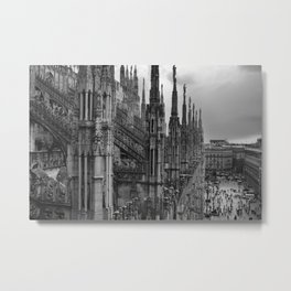 Milan Cathedral, Lombardy, Milan, Italay black and white portrait photography Metal Print