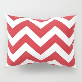 Fire engine red - red color - Zigzag Chevron Pattern Pillow Sham